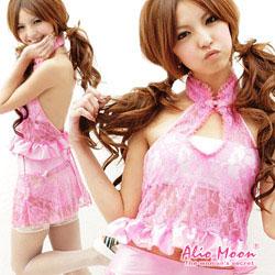 ピンクレースチャイナドレスのセパレートタイプ  セクシーコスプレ