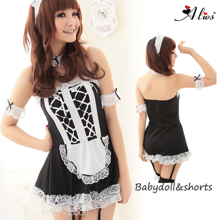 メイドコスチューム 黒白コスプレ衣装ゴスロリ衣装 ミニワンピ Alies