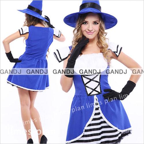 魔女 ブルー ハロウィン コスチューム コスプレ 衣装 ワンピース 大人用 仮装