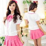 ピンク女子高校生の制服コスチューム ハロウィン 仮装 丸襟 セパレート 大人 レディース