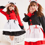 チャイナ服のふんわりメイド服 レッドとブラック ハロウィン 仮装  コスプレ衣装 セパレート
